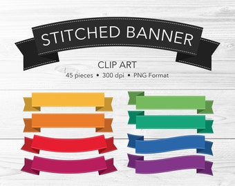 Stitched Banner Clip Art -- 45 Pieces, Stitched Ribbon Clip Art, Digital Scrapbook, Vector Clipart, PNG, Commercial Use, Instant Download