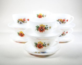 Arcopal cup and saucers Anemones, 6 sets, flowers, Vintage, Retro kitchen