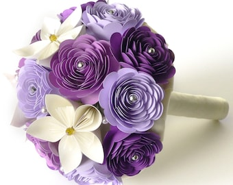 Wedding Bouquet, Purple Ivory Wedding Flowers, Purple Bouquet, Handmade Bridal Bouquet, Wedding Bouquet Alternative