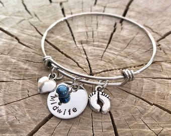 Midwife Gift-  Adjustable Charm Bracelet - Hand Stamped