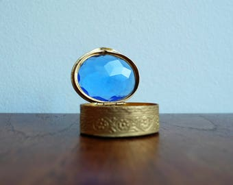 1920's Italian Hinged Brass Pill Box with Blue Gemstone