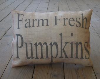 Farm Pumpkins Burlap Pillow, Farmhouse Pillows,  Shabby Chic, Thanksgiving, Autumn 21,  INSERT INCLUDED