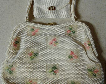 Corde Bead by Lumured Vintage 1950's beaded handbag with matching coil purse