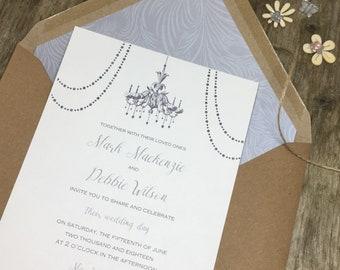 Elegant Wedding invitations - timeless elegance in silver, romantic wedding invites, classic wedding stationery, chandelier, gold wedding