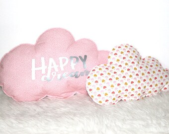 Set of 2 cloud pillows * Happy Dream * - Flora & pink polka dots pattern cotton fabric