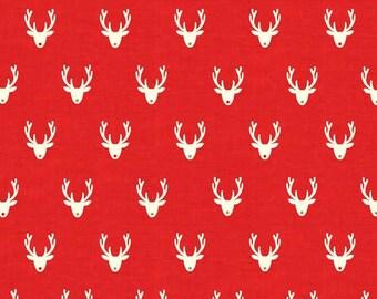 SCANDI fabric cotton patchwork SCANDI 3 Stags Neads red x1m