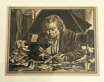 19th Century Framed Print of Beethoven by Batt