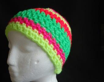 Crochet neon children's hat