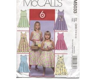 Girls  Dress Pattern - Size 7 8 10 12 - McCalls 5033 - Sleevless - Flared Skirt