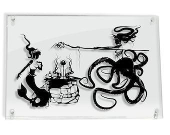 Little Mermaid and Sea Witch Hans Christian Andersen Princess Ariel Ursula Octopus artwork sea creature art paper cut art FRAMED
