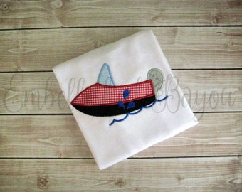 Speedboat Personalized Appliqued T-shirt for Boys