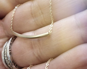 The Original Golden Bar -Very Elegant and Delicate Necklace - balance bar tube By SimaG