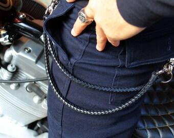Double Wallet Chain, Hand Braided Leather, Men's Leather Wallet Chain, Braided Leather Key Chain, Two Chains, Boyfriend Gift