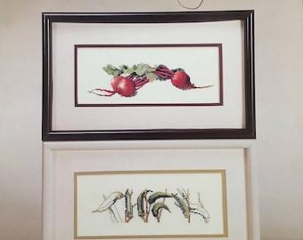 VEGGIES I Original Watercolors Janet Powers #571 1987 Green Apple Beet Okra Vintage Counted Cross Stitch Chart Pattern Leaflet Pamphlet