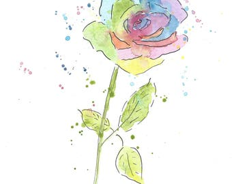 Rose Watercolor Greeting Card, Watercolor Card, Valentines Card, Birthday Card, Rainbow Rose Card, Art Card, Note Card, Flower Card