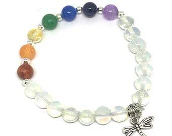 Bespoke Crystal Healing Dragonfly Charm Bracelet - Enlightement Chakra