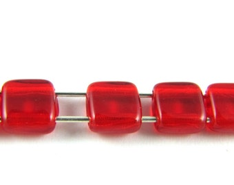 Siam Ruby Red 6mm 2 Hole Flat Square Czech Glass Beads 25pc #19