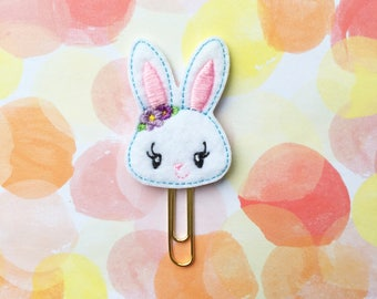 Planner Clip, Girl Bunny, White Rabbit, Bookmark Paperclip, Planner Accessory