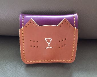 brown/purple-cat-leather wallet-leather purse-purse wallet-coin purses women-coin pouch-for her
