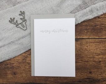 Merry Christmas Letterpress Card. Christmas Card. Greeting Card. Letterpress. Grey Christmas Card. Simple Card.