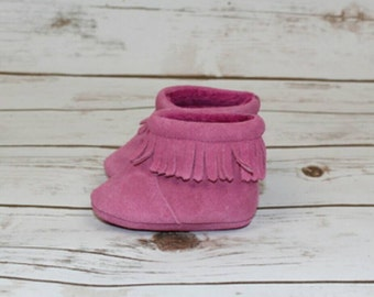 Baby, Toddler Moccasin suede leather boots Pink