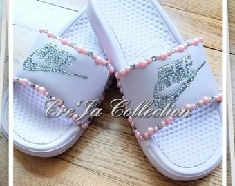 Nike Slides, Nike Flip Flops, Custom Nike Slides, Custom Bling Nike, Bling Flip Flops, Bling Nike Slides