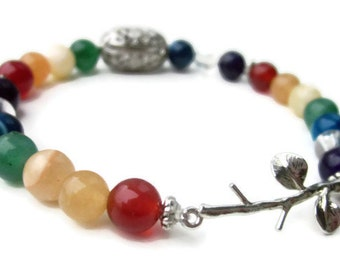 Chakra Bracelet, Branch Bracelet, Chakra Stones, Prayer Beads, Mala Beads, Meditation Bead, Yoga Jewelry, Courage, Balance, Gemstone Jewelry