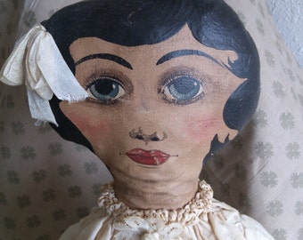 Linda Dianne is a Painted Faced Artist Original Doll made to fit into an Antique Setting.