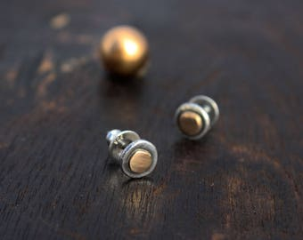 Silver and Gold Stud Earrings. Small Silver Studs. Round Stud Earrings. Sterling silver and 14k Gold studs.  Gift for her. Unique