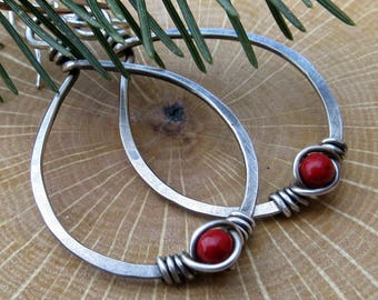 Sterling Silver Teardrop Earrings Holiday Jewelry Wire Wrapped Earrings, Red Fossil Stone Gifts for Her Eco Friendly Jewelry