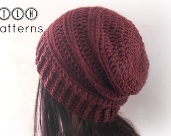 CROCHET PATTERN, slouchy hat pattern, crochet slouchy beanie pattern, Chocolate Slouchy hat, adult size, Pattern No. 36