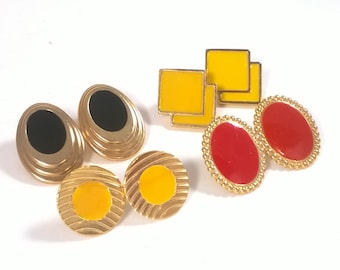 80's Earrings Lot - 4 Four Pairs Colourful Bold Small Earrings - Vintage Fashion Jewelry 1980s