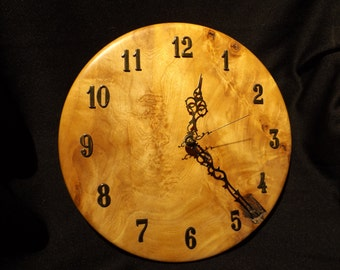 hand turned paper birch crotch clock