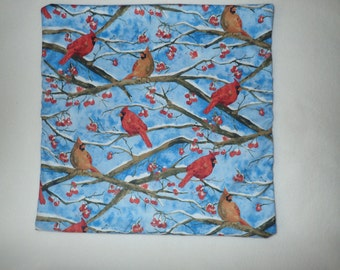 Decorative Pillow Cover, Winter Pillow Cover, Holiday Decor,18 x 18 Pillow Cover, Cardinals, Red Birds, Winter Birds, Snow Scene, Red Berry