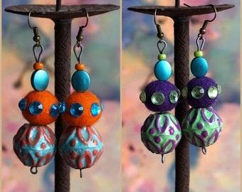 BOHEMIAN CIRCUS earrings, dangle felt ball earrings, Artisan beads, hand painted rustic metal beads, colorful Boho earrings