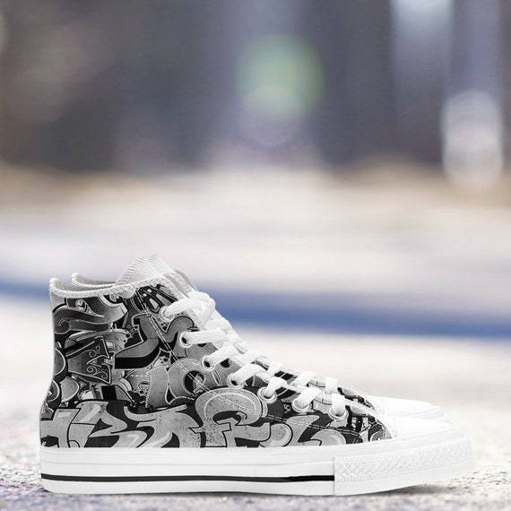 Graffiti Art White Men and sizes top High Women Modern Men's White Canvas New ladies amp; Trainers Shoes Black Sneakers wxrHqfFSw
