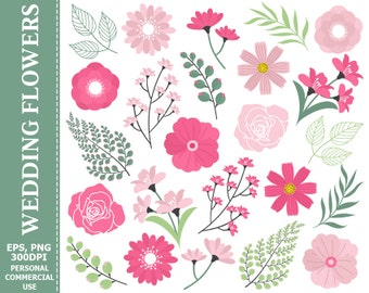 Wedding Pink Flowers Clip Art - Leaves, Flowers, Pink, Green, Lily, Branch Clip Art
