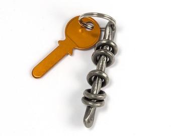 Forged iron keychain - Blacksmith made Design keychain - wrought iron keychain, hand-forged - iron gift - iron pendant - metal keyring