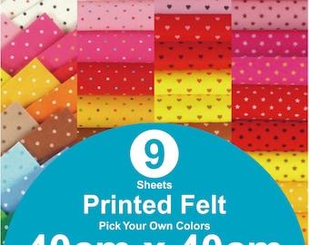 9 Printed Felt Sheets - 40cm x 40cm per sheet - pick your own colors (PR40x40)