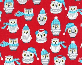 NEW Andie Hanna's Polar Pals, OWLS on Red Fabric, yard