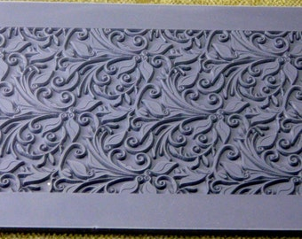 LEAVES and TENDRILS  Rollable Texture Mat Stamp for Clays, inks, Pastels, Paints, Inks, Soap Wax RTT-113