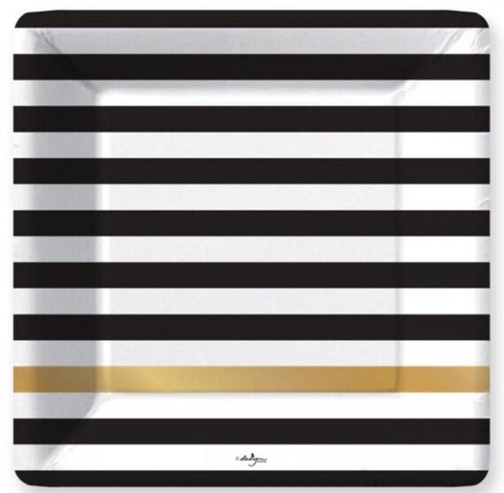 Black Striped Plates 8 Stripe Square Paper Plates Black White Gold Large 10.25\  Dinner Birthday Wedding Bridal New Years Eve Party  sc 1 st  Etsy & Black Striped Plates 8 Stripe Square Paper Plates Black White