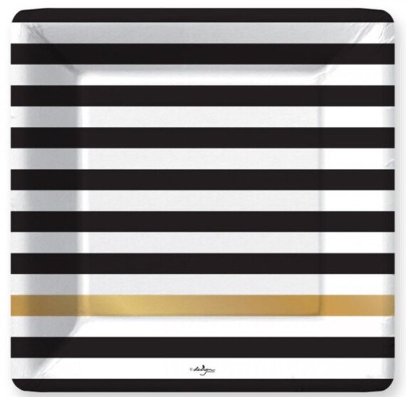 sc 1 st  Etsy & Black Striped Plates 8 Stripe Square Paper Plates Black White