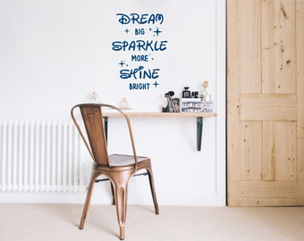 Dream Big Sparkle More Shine Bright Wall Decal Quote, Nursery wall decal with stars, Vinyl Word art for walls, Wall sticker for bedroom