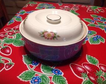 Vintage Hall Kitchenware China rose parade covered casserole dish