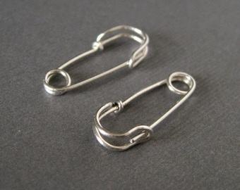 Safety Pin Earrings - 7/8 inch - sterling silver - small hoop earrings - punk jewelry, fun earrings
