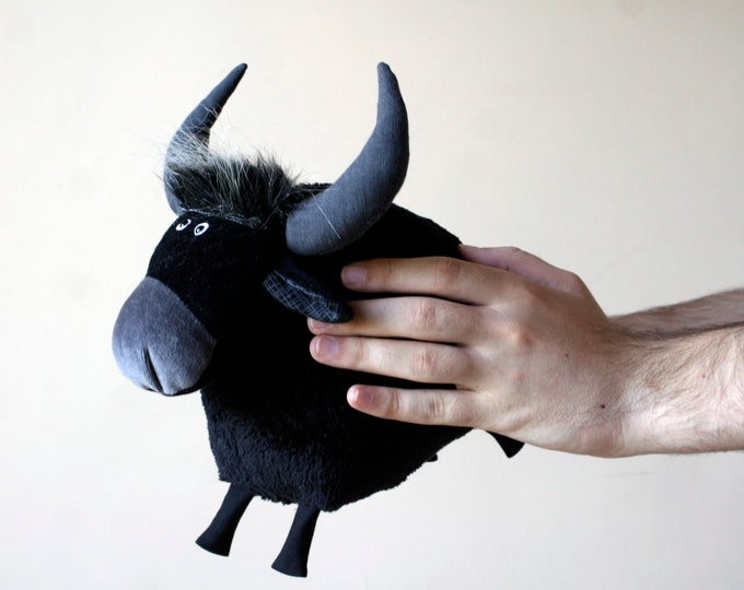 Black Buffalo Plush, Funny Soft Water Buffalo Toy, Cute Black Cow Plushie