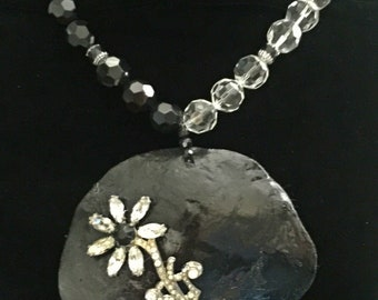 Black Crystal beaded necklace.