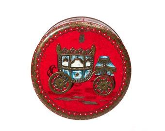 Vintage Tin Metal Box, Vanity Candy Cookie Biscuit Collectible Trinket Red Round Box, Storage Container Embossed Victorian Royal Coach