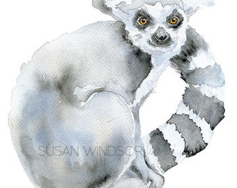 Lemur Watercolor Painting Giclee Reproduction 8 x 10 - Fine Art Print - 8.5 x 11 - Ring Tailed
